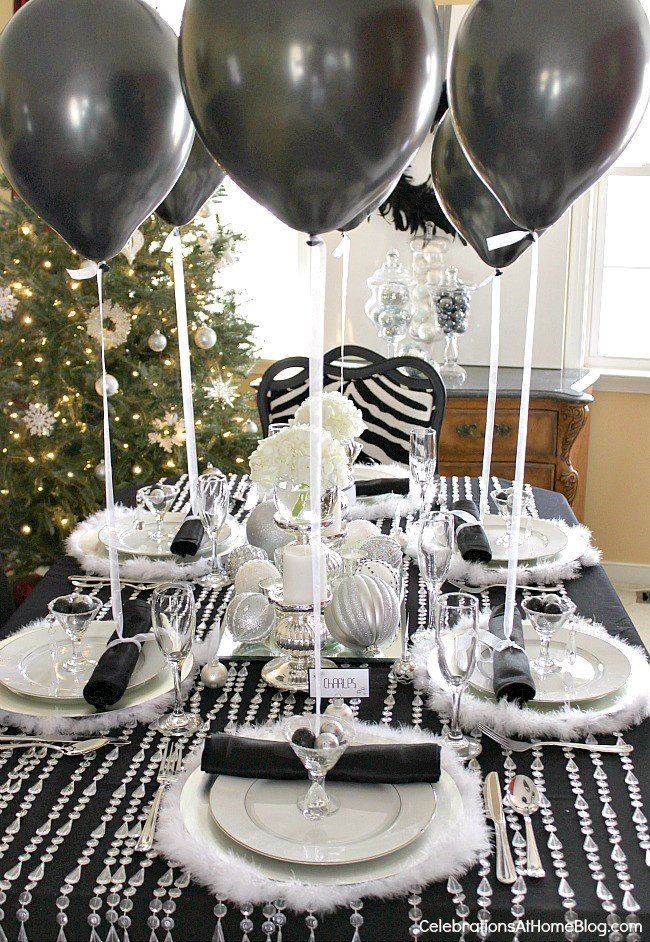 Black and Silver Table Decor Inspirational Black & White & Silver Holiday Table Celebrations at Home