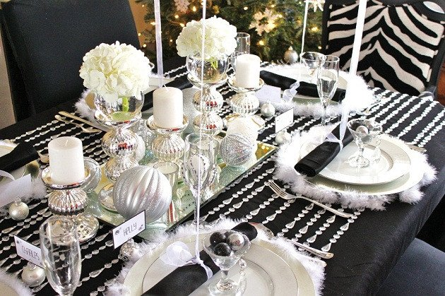 Black and Silver Table Decor Unique Black & White & Silver Holiday Table Celebrations at Home