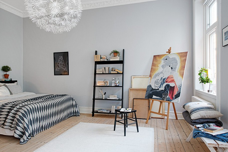 Black and White Bedroom Decor Elegant Swedish Apartment Boasts Exciting Mix Of Old and New