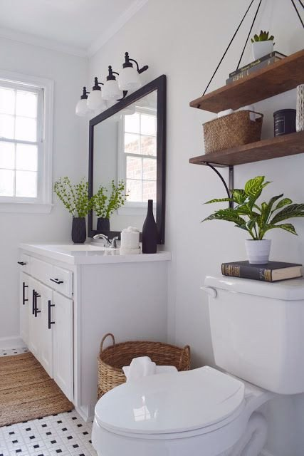 Black and White Farmhouse Decor Inspirational Black and White Bathroom with Wood Accent Diy Modern Farmhouse Decor Delightfully Chic