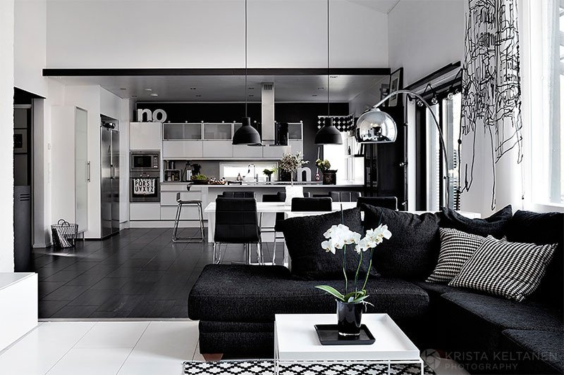 Elegant black and white interior design with fortable atmosphere