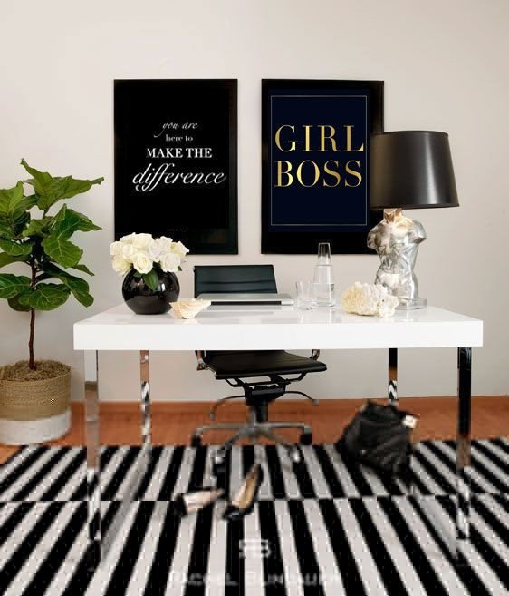 Black and White Office Decor Inspirational Girl Boss Gold Foil Print and Boss On Pinterest