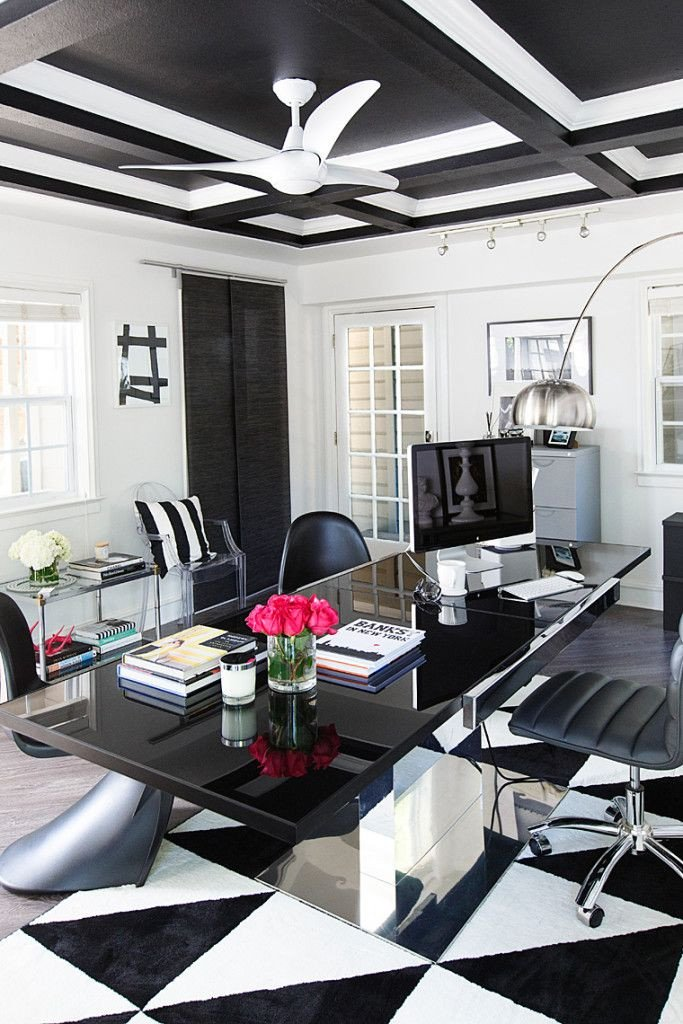 Black and White Office Decor Lovely Get the Look Hollywood Glam Black and White Office Space Chic Office Spaces