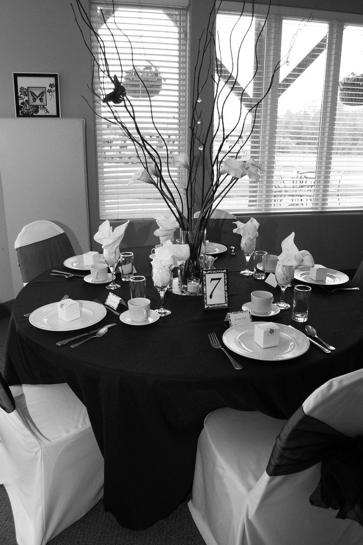 Black and White Table Decor Inspirational Black and White Table Decor Simple Eye Catching Placecards Center Piece Made with Black Twigs