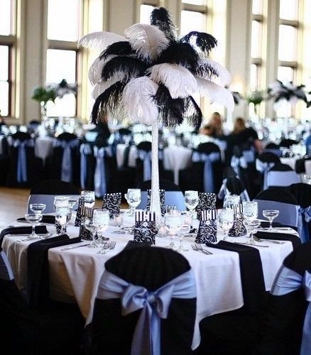 Black and White Table Decor Luxury Ostrich Feather Centerpieces How Do We Avoid the Palm Tree Look