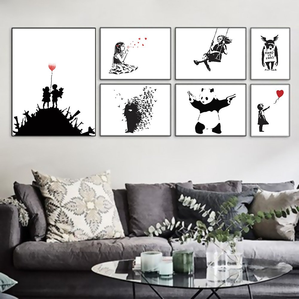 Black and White Wall Decor Awesome Banksy Black White Modern Abstract Pop Hipster Art Print Poster Wall Picture Living Room Canvas