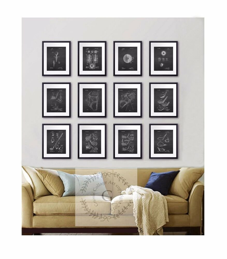 Black and White Wall Decor Best Of Golf Wall Decor Set Of 12 Prints Black and White Golf Patent Drawing Wall Art