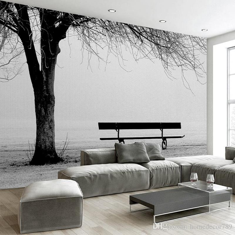 Black and White Wall Decor Elegant Custom 3d Wallpaper Mural Black White Big Tree Bench Abstract Art Wall Painting Modern