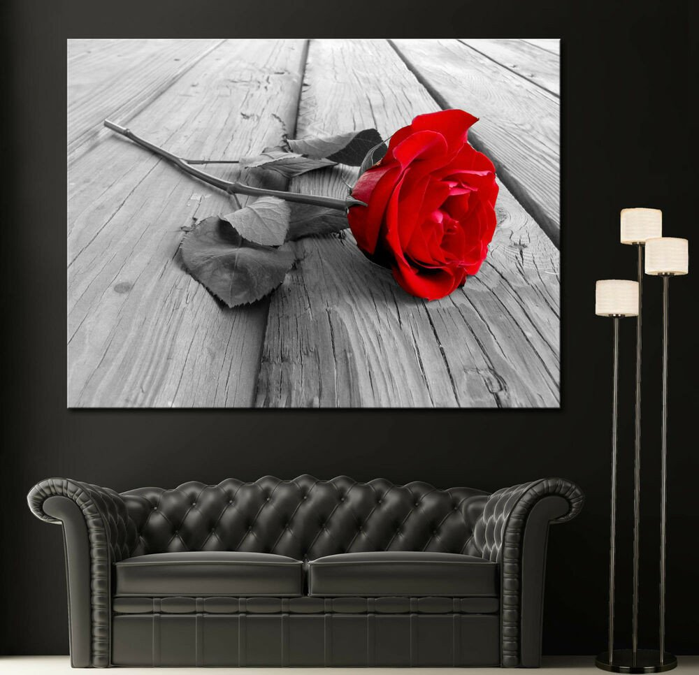 Black and White Wall Decor Elegant Wall Art Canvas Print Black White Red Rose Modern Home Fine Prints