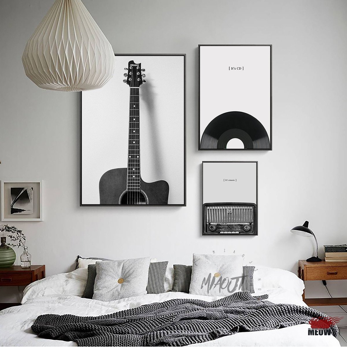 Black and White Wall Decor Unique Fashion Music Guitar Poster Living Room Printed Canvas Painting Vintage Black and White