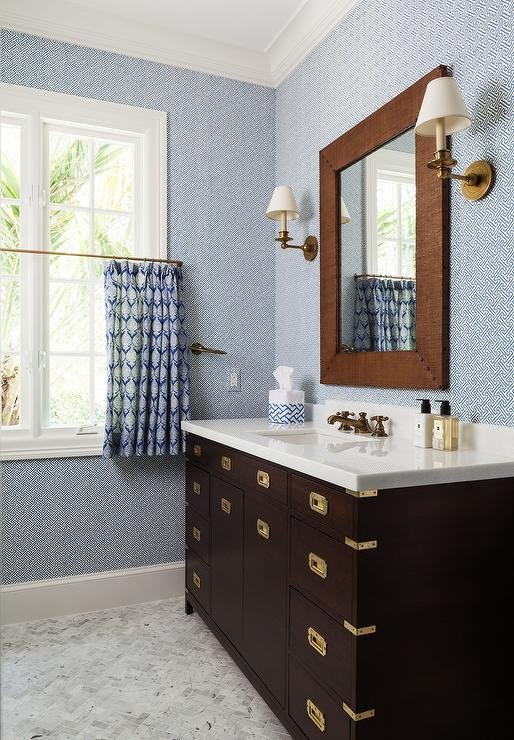 Blue and Brown Bathroom Decor Best Of Brown and Blue Kids Bathroom with Brown Campaign Washstand Transitional Bathroom