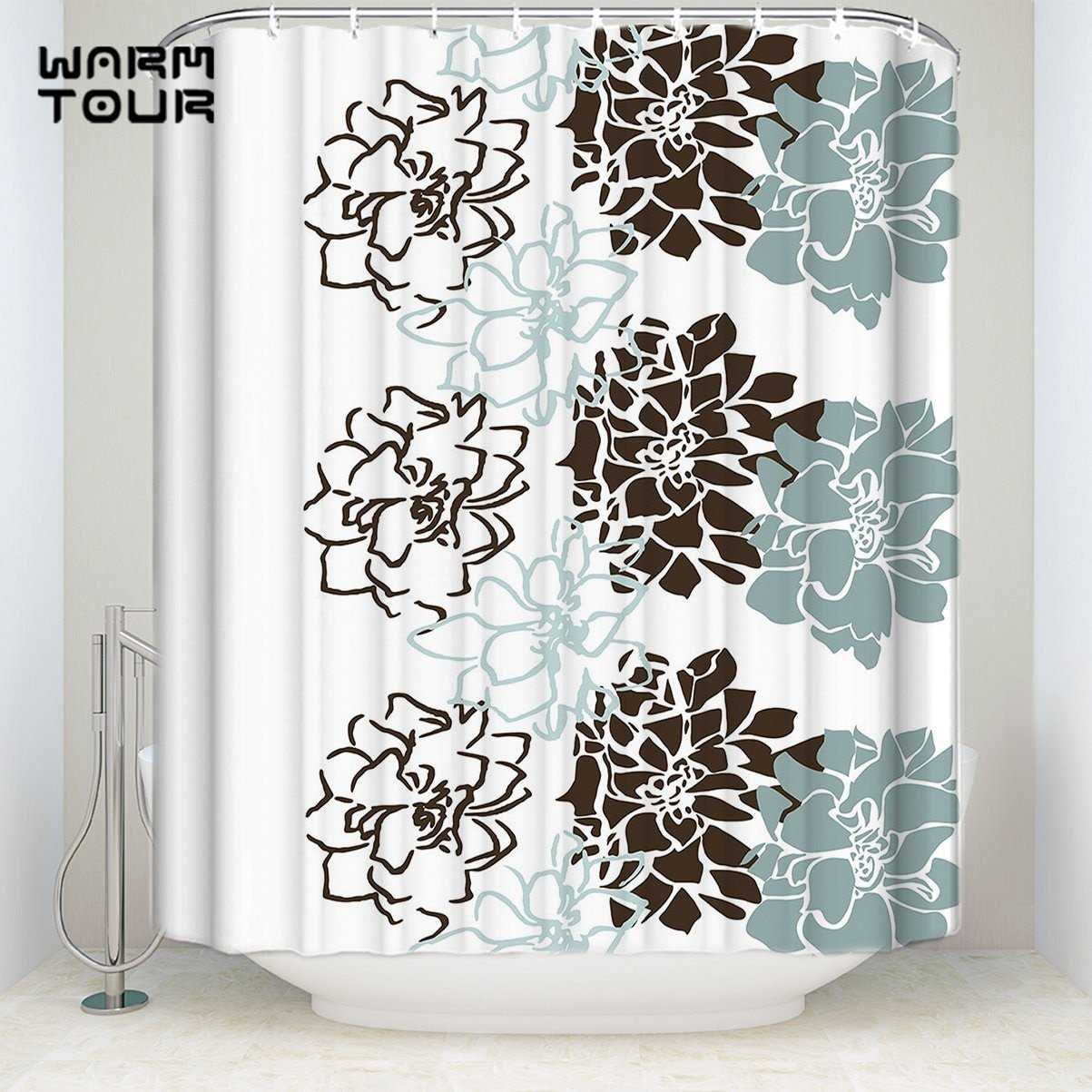 Blue and Brown Bathroom Decor New Bath Shower Curtains Geometric Flowers Blue Brown White Wel E Mildew Resistant Bathroom Decor