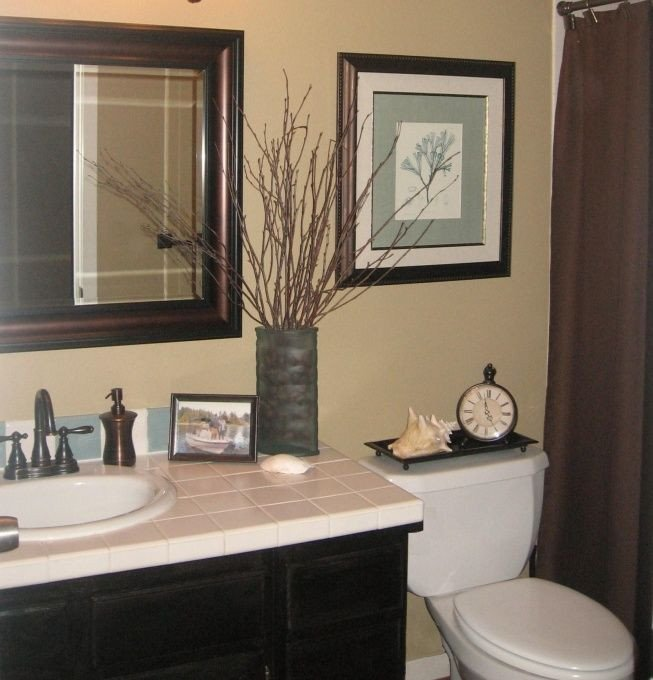 Blue and Brown Bathroom Decor New Quick Guest Bath Makeover total Cost $240 Chocolate Brown Blue & Tan