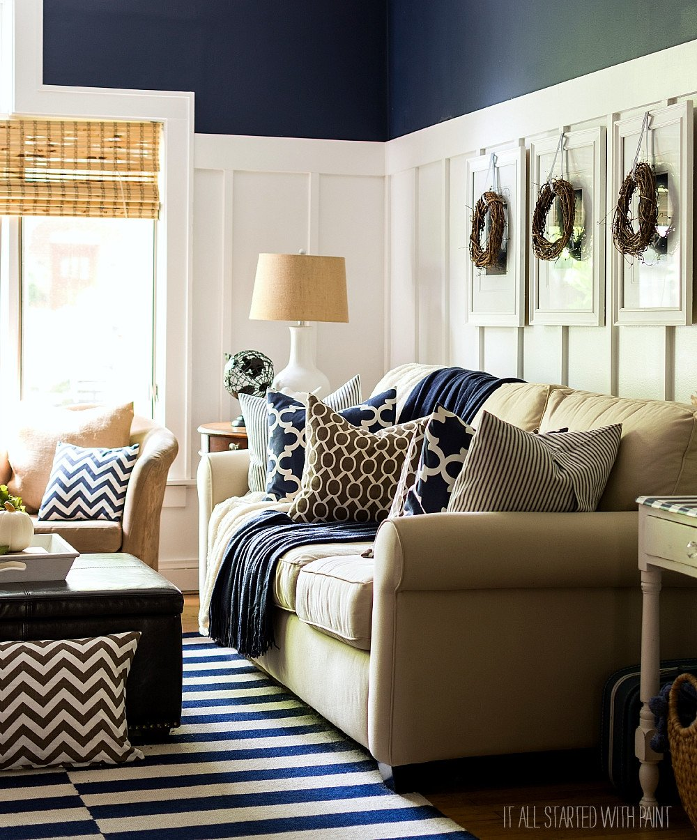Blue and Brown Home Decor New Fall Decor In Navy and Blue