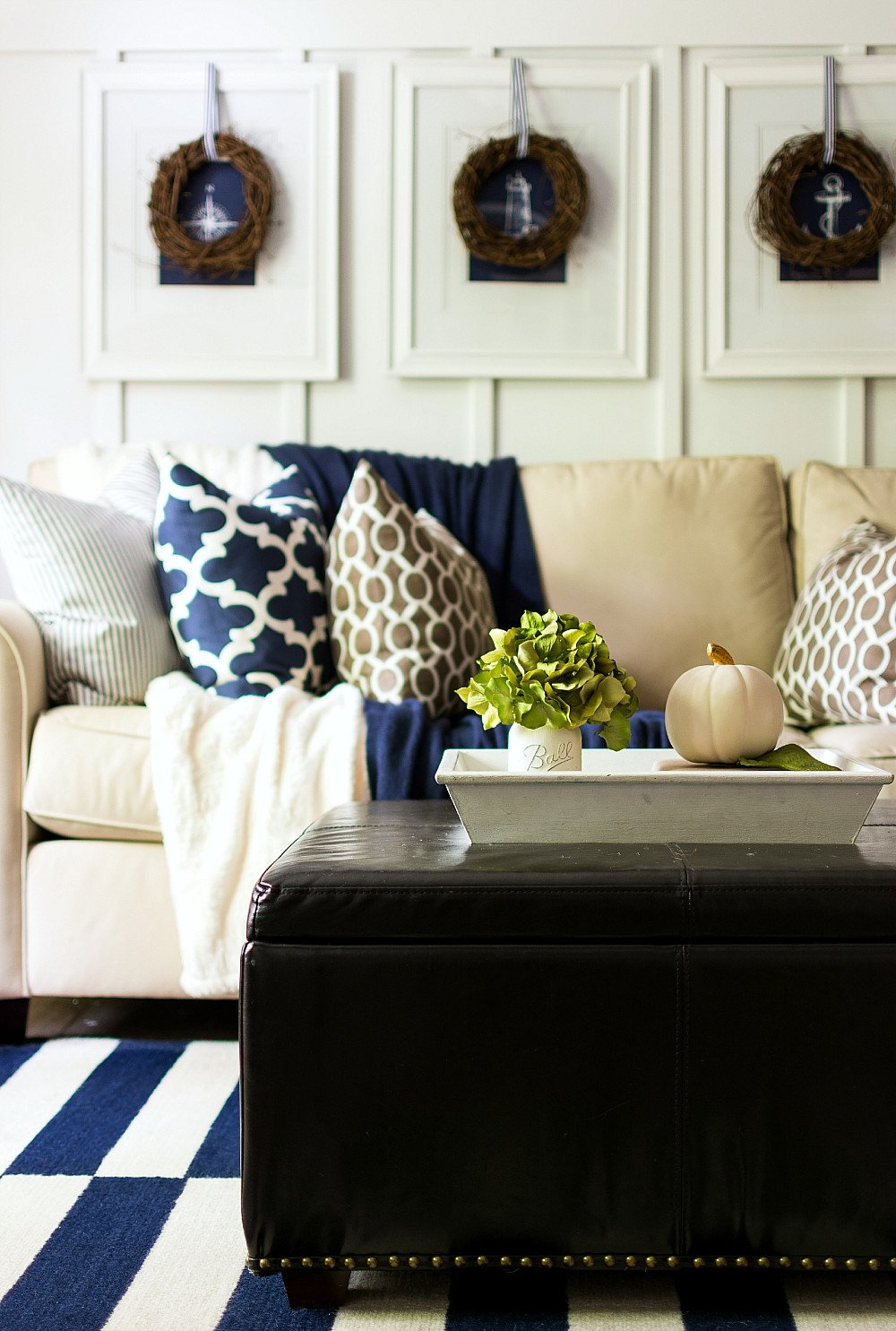 Blue and Brown Home Decor Unique Fall Decor In Navy and Blue