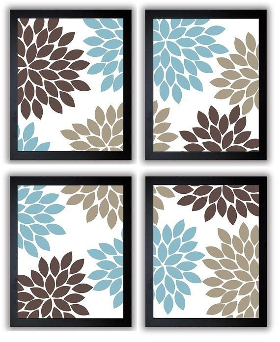 Blue and Brown Wall Decor Beautiful Flower Print Blue Brown Beige Chrysanthemum Flowers Set Of 4 Square Art Print Wall Decor Modern