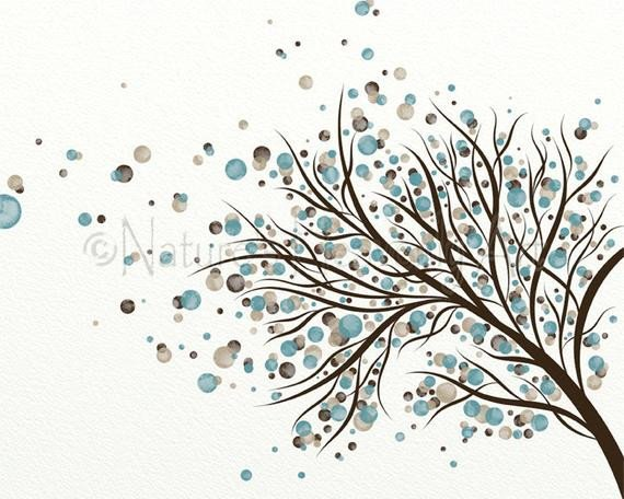 Blue and Brown Wall Decor Fresh Brown and Blue Home Decor Blowing Tree Wall Art Print 8 X 10
