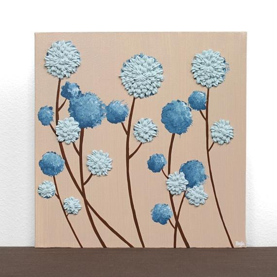 Blue and Brown Wall Decor Inspirational Blue and Brown Decor Textured Flower Painting Small by Amborela