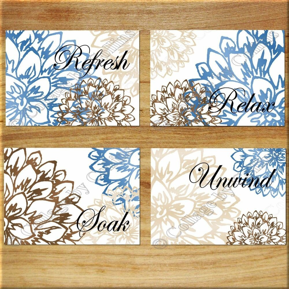 Blue and Brown Wall Decor Luxury Brown Blue Tan Wall Art Bathroom Bath Rules Word Print Decor Floral Flower Peony