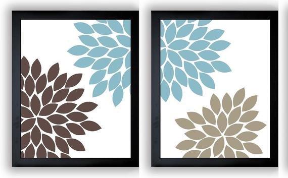 Blue and Brown Wall Decor Luxury Flower Print Blue Brown Beige Chrysanthemum Flowers Set Of 2