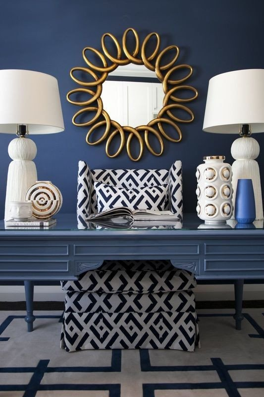 Blue and Gold Home Decor Best Of Home Decorating Ideas Glamorous Navy Blue White and Gold with Dark Navy Accent Wall Painted