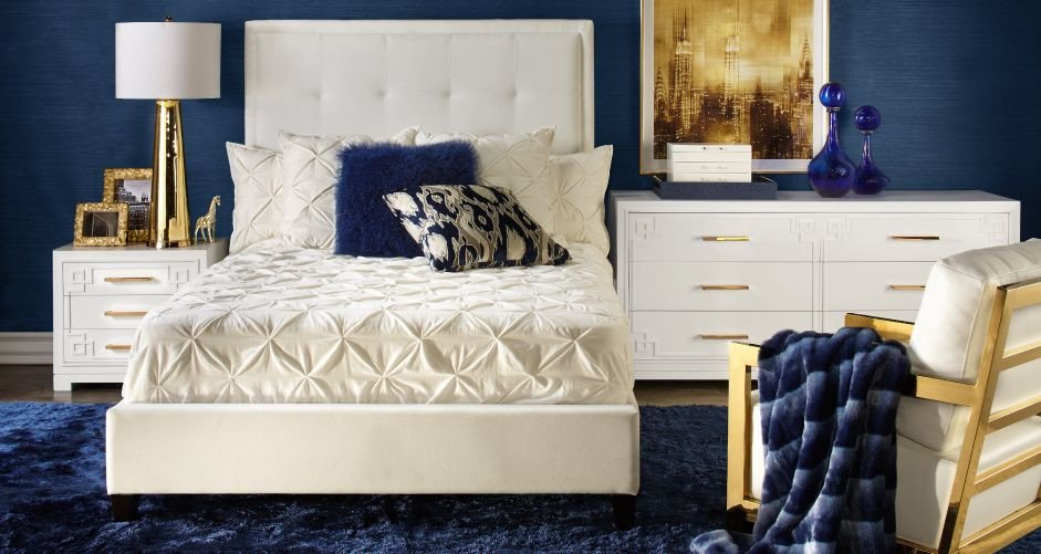 Blue and Gold Home Decor Best Of Inspired by This Riley Sapphire Bedroom Inspiration Look On Zgallerie