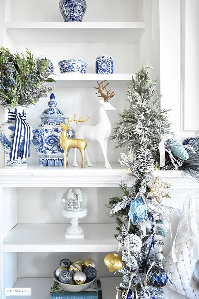 Blue and Gold Home Decor Inspirational Christmas Home tour Living Room with Blue White and Gold