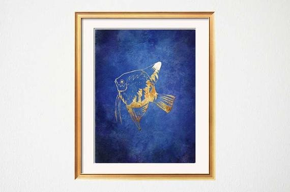 Blue and Gold Wall Decor Awesome Items Similar to Fish Wall Art Beach Bathroom Art Lake House Art Blue Gold Decor Chinoiserie