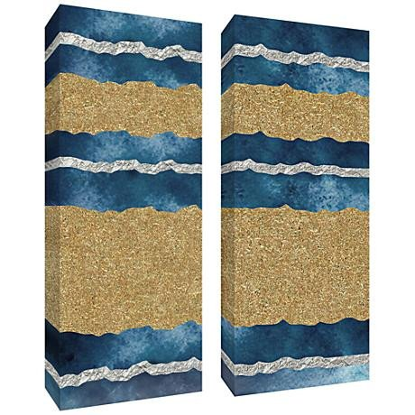 "Blue and Gold Wall Decor Best Of Blue and Gold Leaf Abstract 40""h 2 Piece Canvas Wall Art Set 12r02"