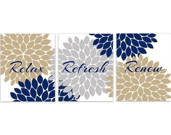 Blue and Gold Wall Decor Inspirational Bathroom Wall Art Relax Refresh Renew Rejuvenate Yellow