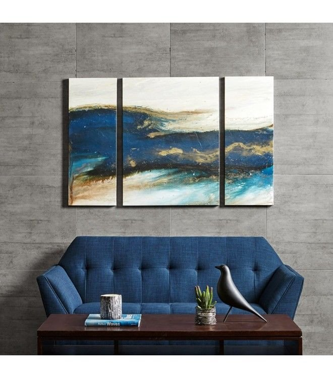 Blue and Gold Wall Decor Lovely Blue & Gold Abstract Wave Wall Art Set Of 3 Blue