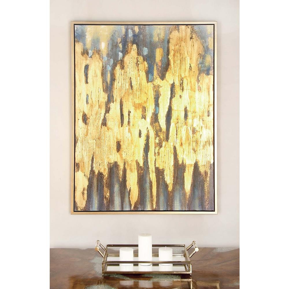 "Blue and Gold Wall Decor Luxury 47 In X 36 In ""gold and Blue Color Field"" Canvas Wall Art the Home Depot"