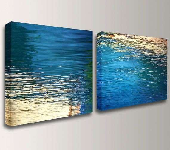 Blue and Gold Wall Decor Luxury Canvas Art Nautical Wall Art Beach Modern Abstract Blue and Gold Coastal Graphy