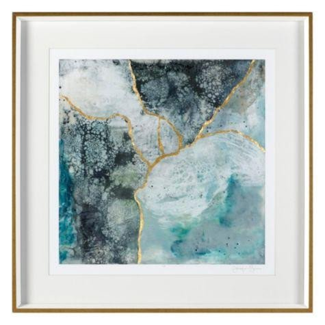 Blue and Gold Wall Decor Luxury Sea Lace 2 Blue Gold Framed Wall Art