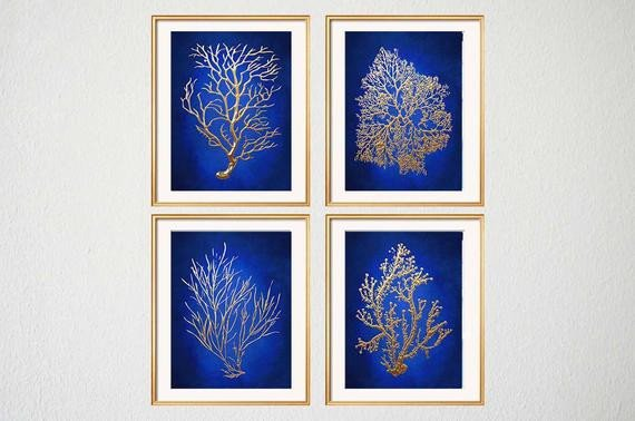 Blue and Gold Wall Decor Unique Blue Gold Wall Art Chinoiserie Wall Art Indigo Blue Blue