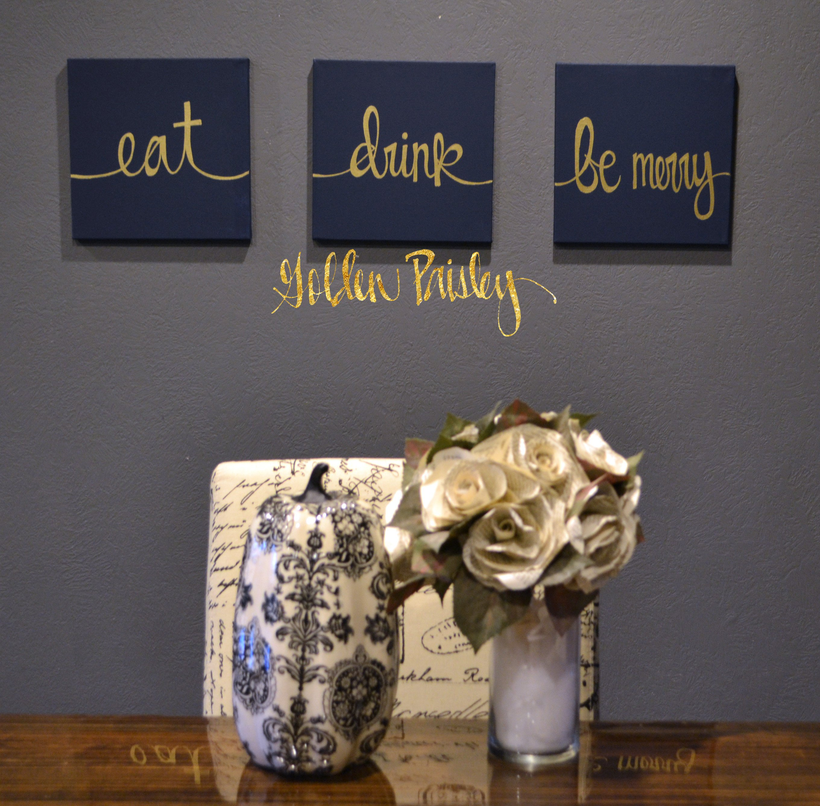 Blue and Gold Wall Decor Unique Eat Drink Be Merry Navy & Gold 3 Piece Wall Decor Set