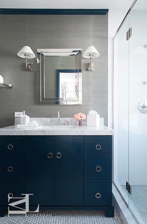 Blue and Gray Bathroom Decor Inspirational Navy Blue and Gray Bathrooms Contemporary Bathroom