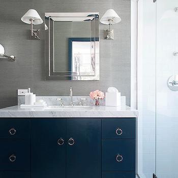 Blue and Gray Bathroom Decor Unique Navy Vanity Contemporary Bathroom Ruth Richards Interiors