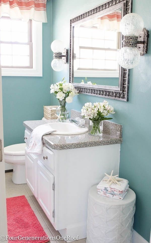 Blue and Green Bathroom Decor Beautiful Gorgeous Blue Green Powder Room Makeover before & after I Love How the Blue Paint Color