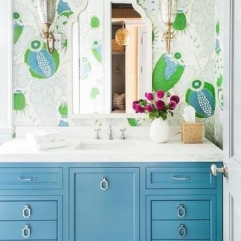 Blue and Green Bathroom Decor Elegant Blue Green Bath Vanity with Black Mirror Transitional Bathroom
