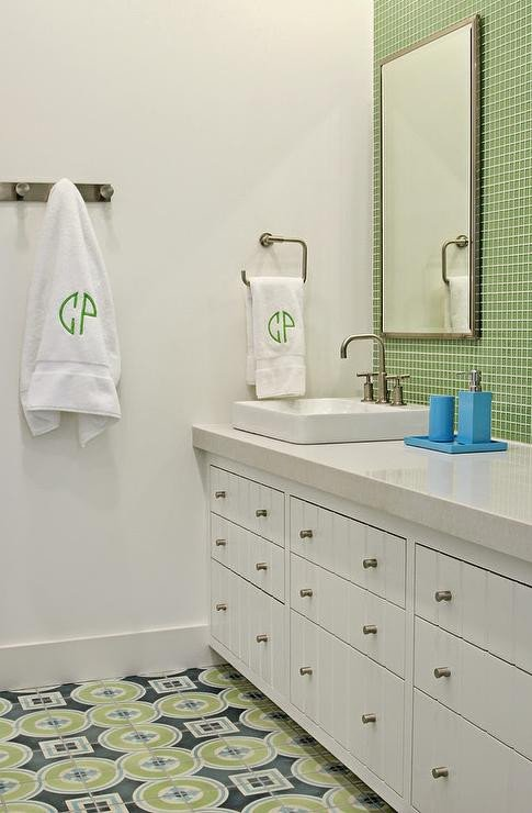 Blue and Green Kids Bathrooms Contemporary Bathroom