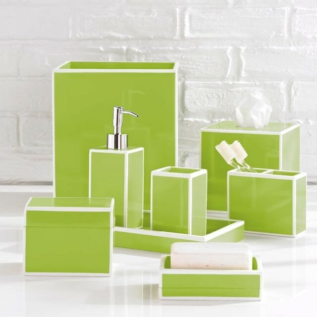 Blue and Green Bathroom Decor Unique Kassatex soho Blue 5 Piece Bathroom Accessories Set Resin