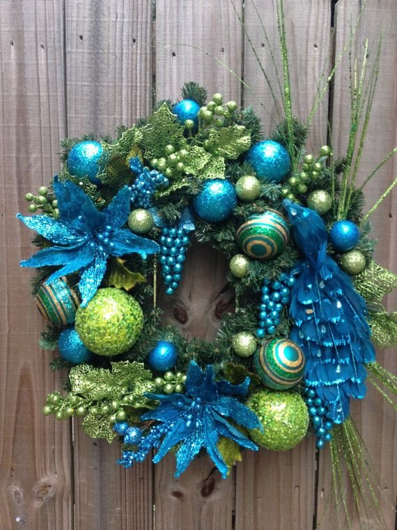 Blue and Green Christmas Decor Beautiful 56 Best Images About Peacock Feather Wreaths On Pinterest