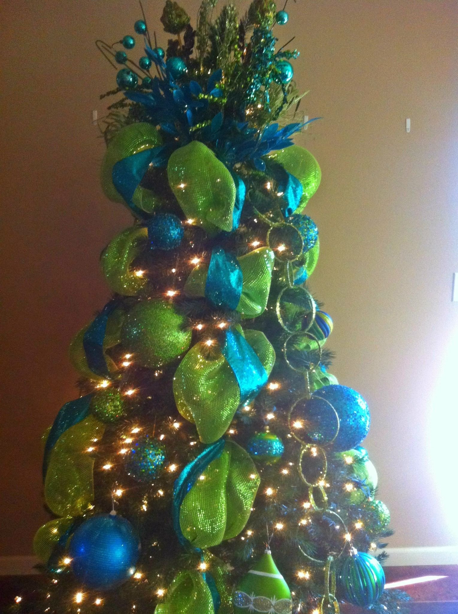 Blue and Green Christmas Decor Fresh Christmas Tree Blue Green Glitter Christmas