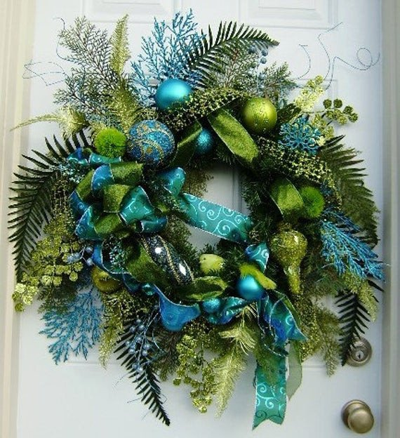Blue and Green Christmas Decor Fresh Items Similar to Custom Wreath Deposit for Sabine Turquoise Lime Green Winter Christmas