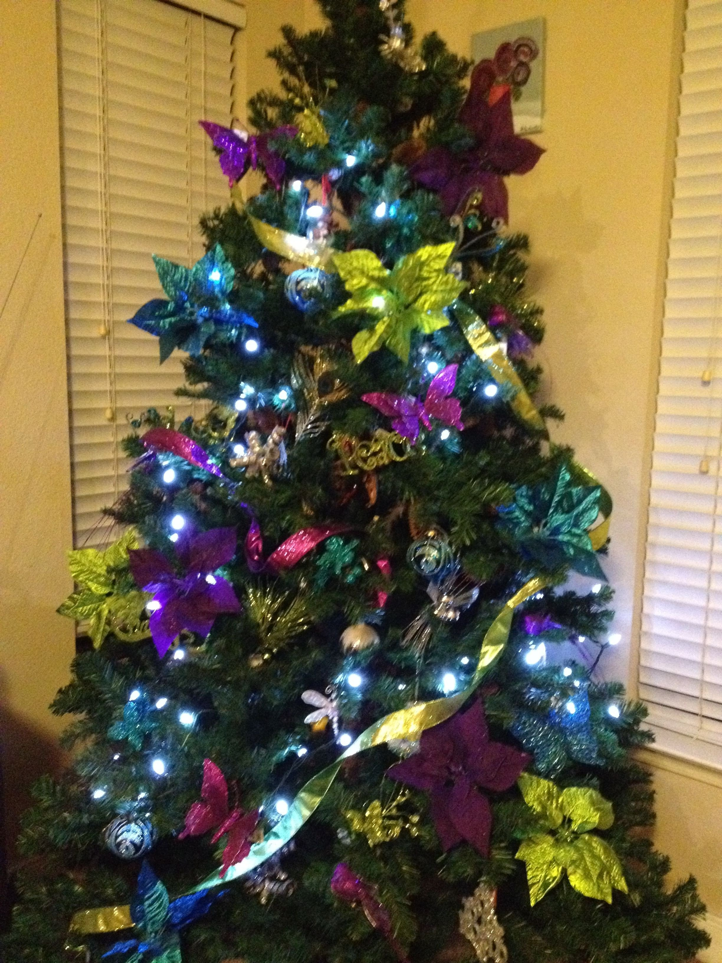 Blue and Green Christmas Decor Lovely Peacock Blue Purple Lime Green Christmas Tree Seasons