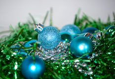 Blue and Green Christmas Decor New Blue and Silver Christmas Decorations Stock Image