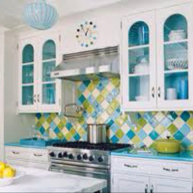 Blue and Green Kitchen Decor Lovely Aqua Blue and Lime Green Kitchen