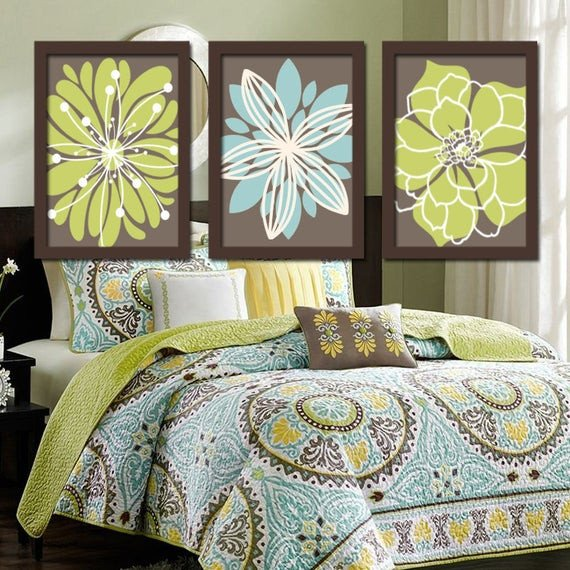 Blue and Green Wall Decor Beautiful Flower Wall Art Green Brown Bedroom Brown Green