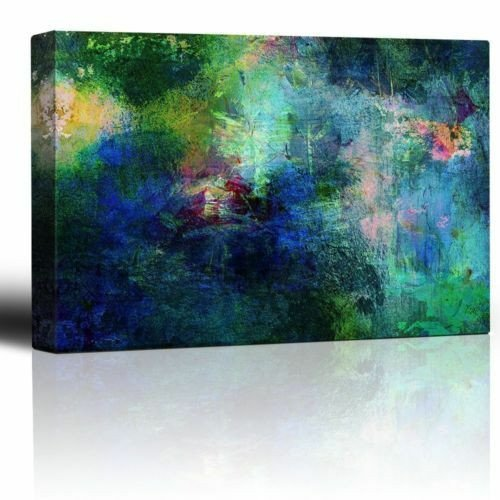 Blue and Green Wall Decor Elegant soothing and Vibrant Blue and Green Splotches Of Paint Canvas Wall Art 24x36